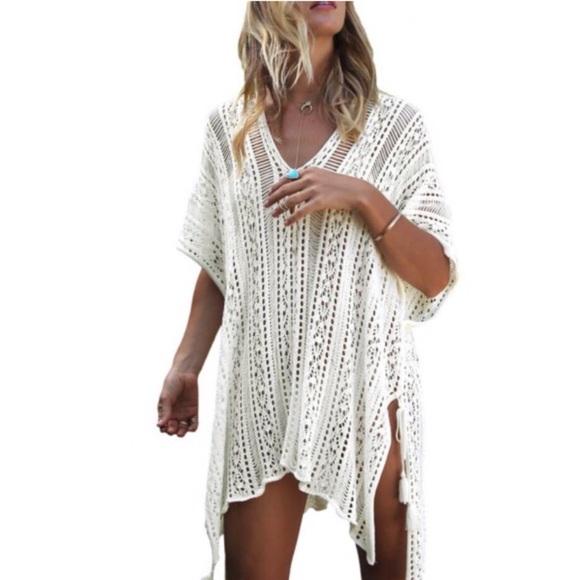Other - White Tasseled Crochet Cover-Up